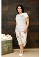Hays Plus Size Penye Kadın Kapri Pijama Takımı Mavi